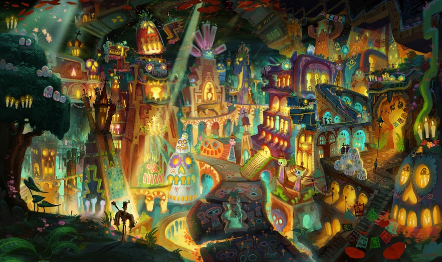 IMAGE 1 - Production concept art featuring one of the fantastical worlds explored in this fall's animated comedy adventure THE BOOK OF LIFE.